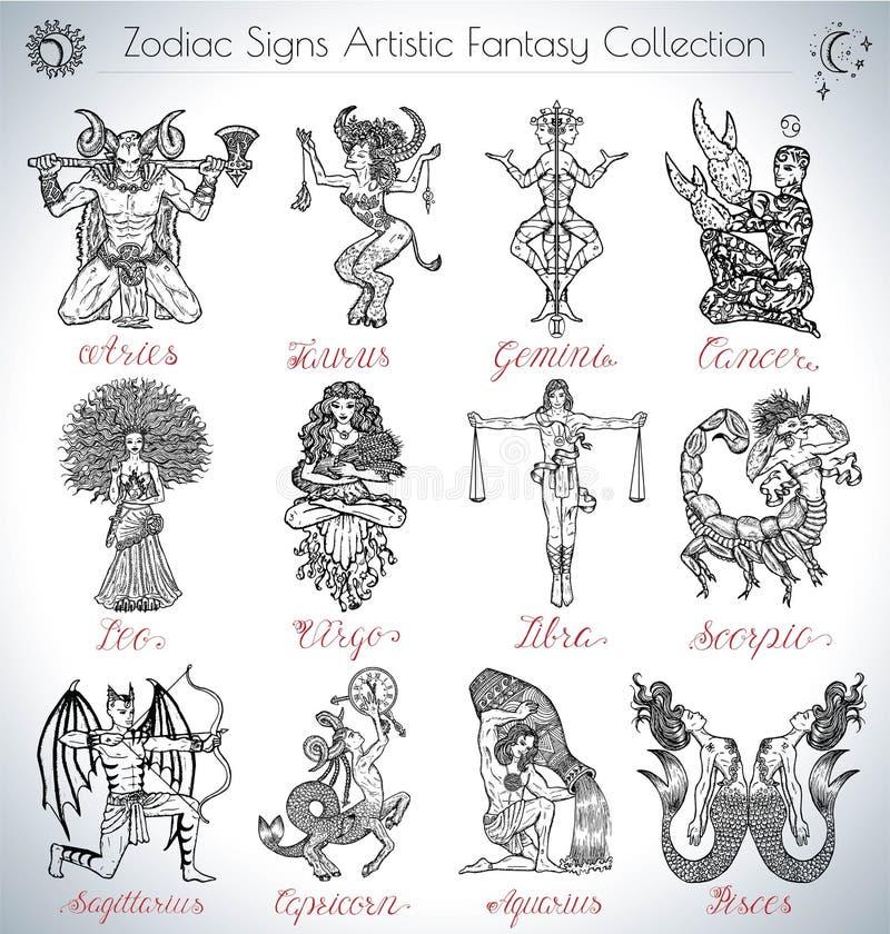 Dé la colección exhausta del vector con los iconos de las muestras del zodiaco de la fantasía libre illustration