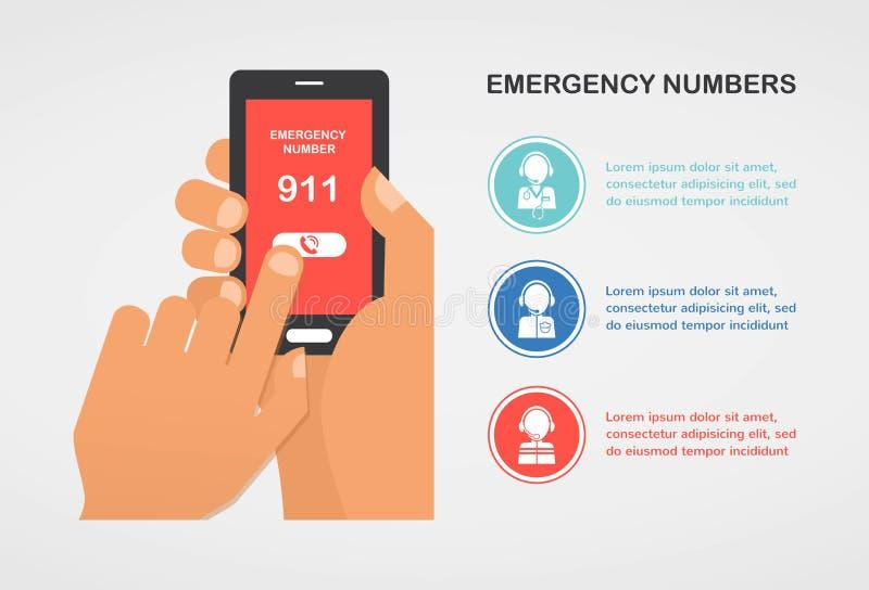 Dé la emergencia número 911 de la prensa en un teléfono móvil que pide ayuda ilustración del vector