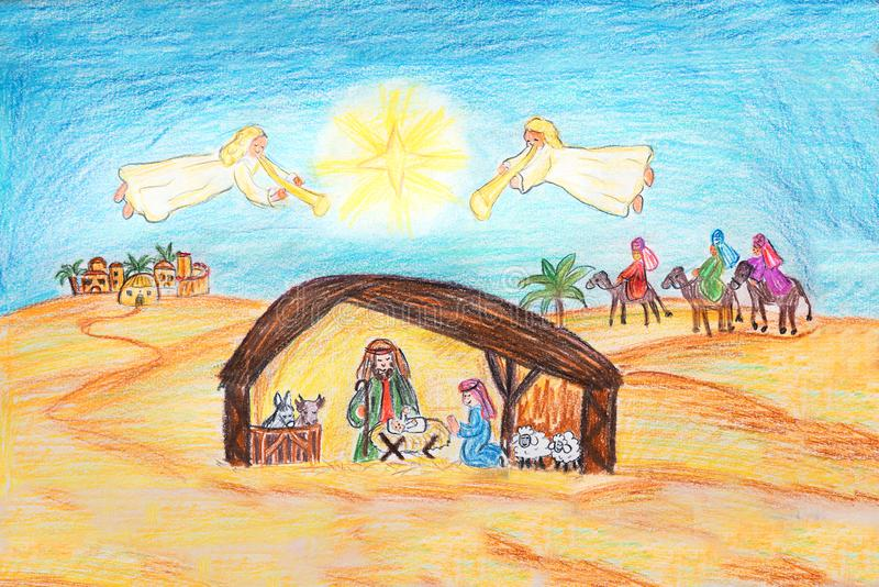 Dé la escena exhausta de la natividad de la Navidad con la familia santa y ángeles libre illustration