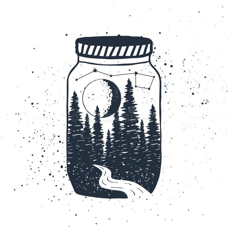 Dé la etiqueta inspirada exhausta con el bosque en un ejemplo del vector del tarro stock de ilustración