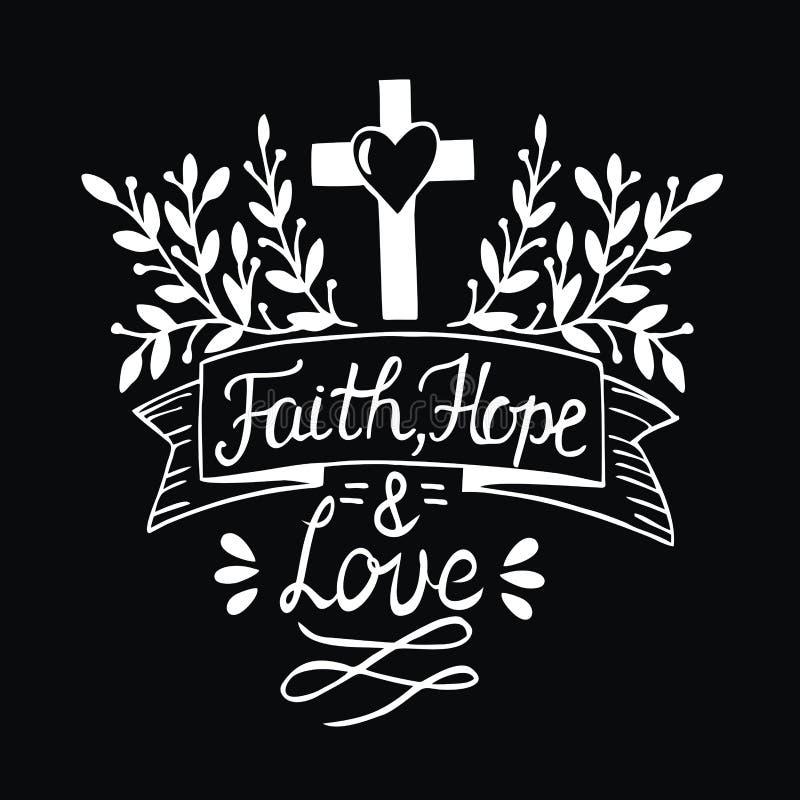 Dé la fe, la esperanza y el amor de las letras en fondo negro libre illustration