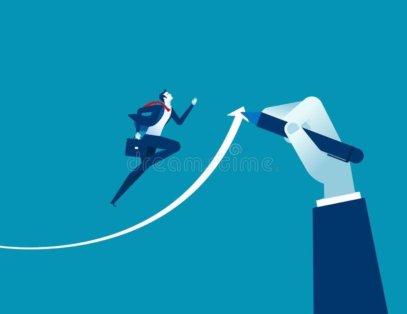 Dé la flecha exhausta, ejecutivos del hombre de negocios de las ayudas al éxito Conce ilustración del vector