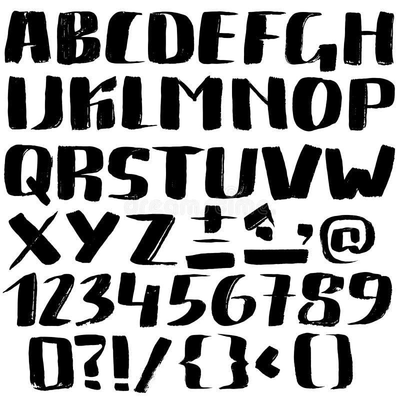 Dé la fuente exhausta hecha por los movimientos secos del cepillo Alfabeto del estilo del Grunge ilustración del vector