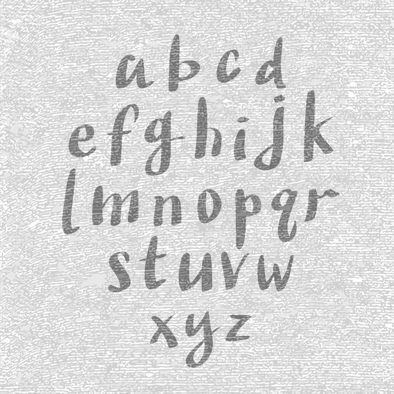 Dé la fuente exhausta y bosquejada, alfabeto del estilo del bosquejo del vector libre illustration