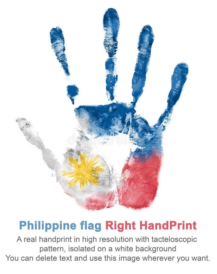 Dé la impresión de la mano derecha en los colores de la bandera de Filipinas, bandera rojo-azul-blanca con el sol amarillo imagen de archivo libre de regalías