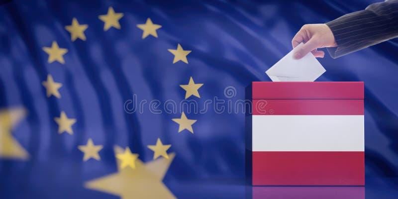 Dé la inserción de un sobre en una urna austríaca de la bandera en fondo de la bandera de unión europea ilustración 3D imagen de archivo
