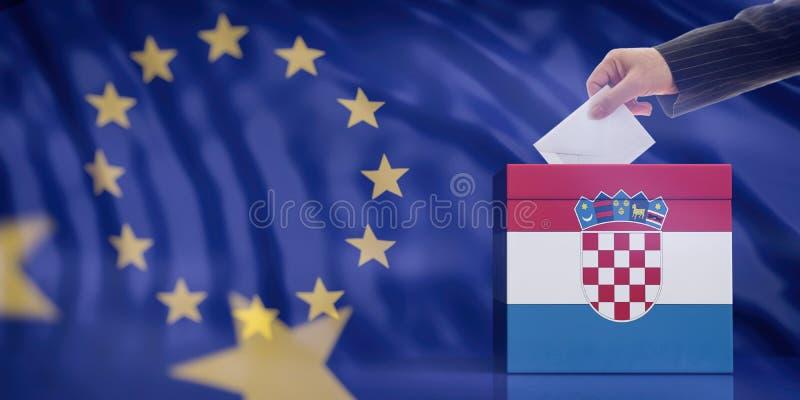 Dé la inserción de un sobre en una urna de la bandera de Croacia en fondo de la bandera de unión europea ilustración 3D imágenes de archivo libres de regalías