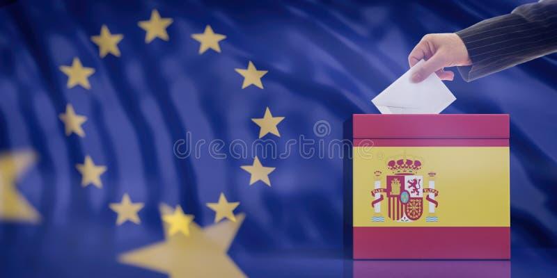 Dé la inserción de un sobre en una urna de la bandera de España en fondo de la bandera de unión europea ilustración 3D stock de ilustración