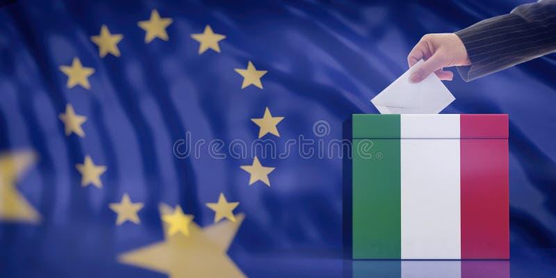 Dé la inserción de un sobre en una urna de la bandera de Italia en fondo de la bandera de unión europea ilustración 3D fotos de archivo