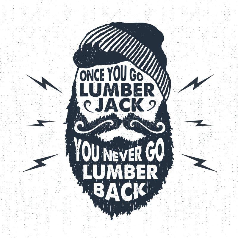Dé la insignia exhausta con la cara texturizada con el ejemplo y las letras del vector de la barba stock de ilustración