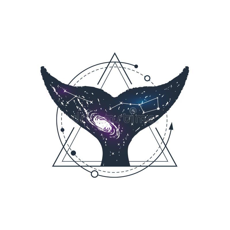 Dé la insignia exhausta del espacio con el ejemplo texturizado del vector stock de ilustración
