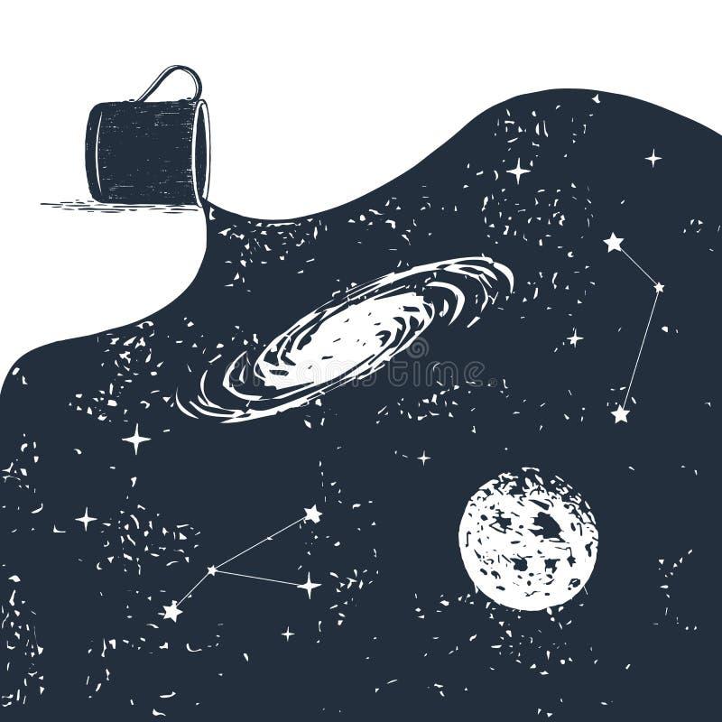 Dé la insignia exhausta del espacio con el ejemplo texturizado del vector ilustración del vector