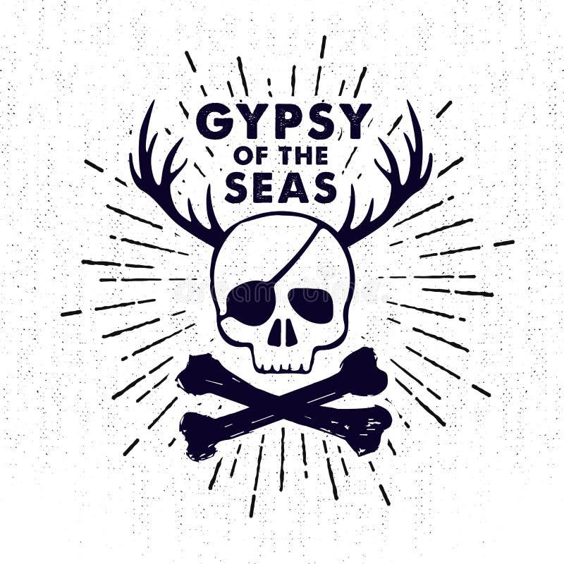 Dé la insignia exhausta del vintage con el cráneo y las letras del pirata ilustración del vector