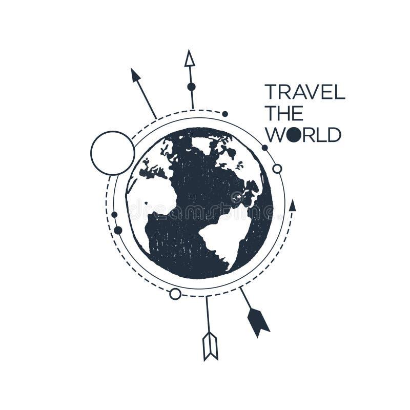 Dé la insignia inspirada exhausta con el ejemplo texturizado del vector de la tierra del planeta libre illustration