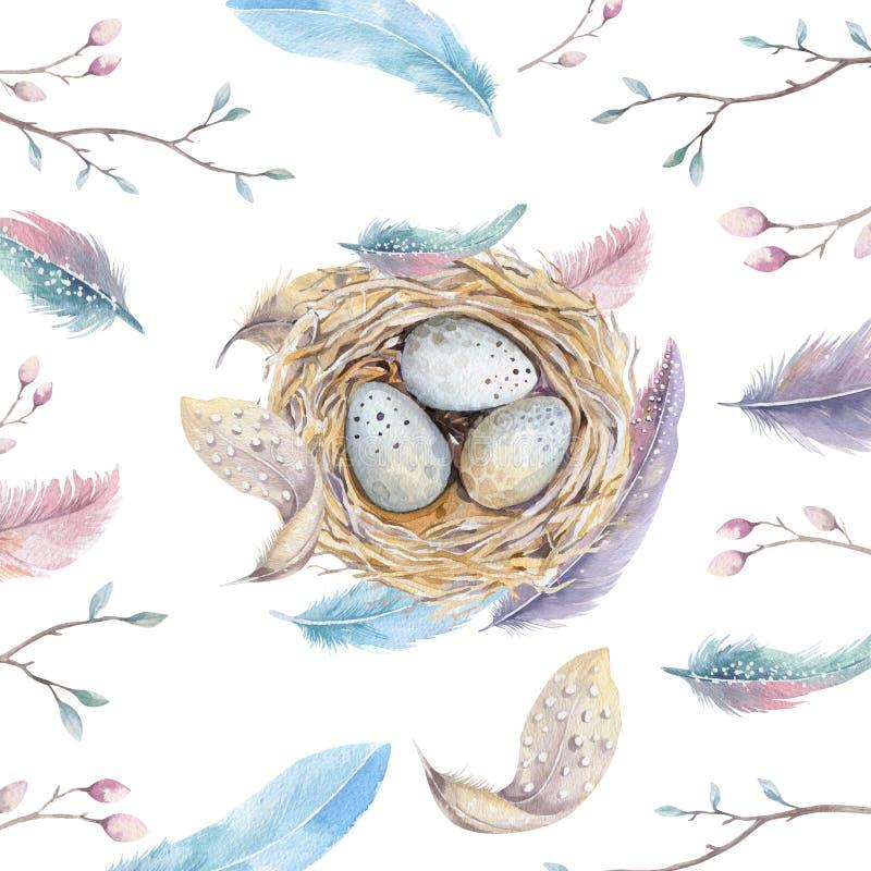 Dé la jerarquía exhausta con los huevos, diseño del pájaro del arte de la acuarela de pascua ilustración del vector