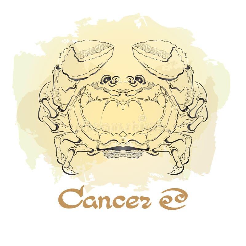 Dé la línea arte exhausta de cáncer decorativo de la muestra del zodiaco stock de ilustración