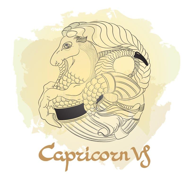 Dé la línea arte exhausta de Capricornio decorativo de la muestra del zodiaco ilustración del vector