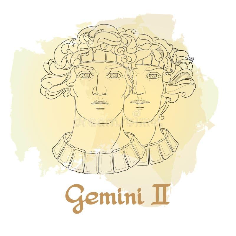 Dé la línea arte exhausta de géminis decorativos de la muestra del zodiaco libre illustration