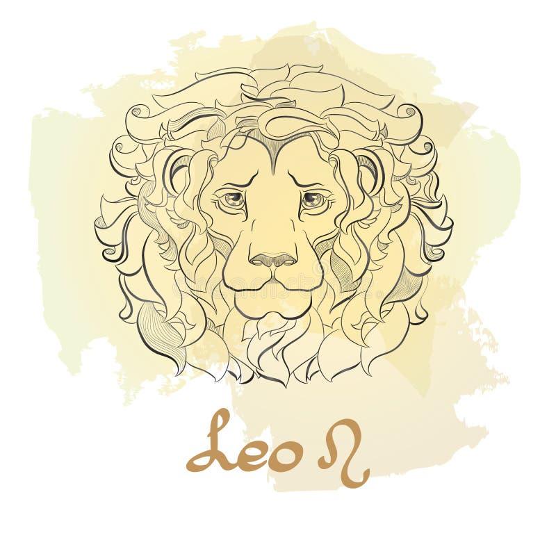 Dé la línea arte exhausta de muestra decorativa Leo del zodiaco libre illustration