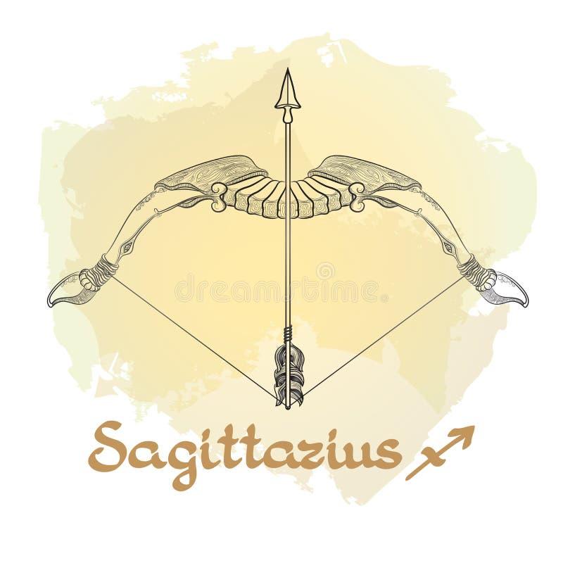 Dé la línea arte exhausta de sagitario decorativo de la muestra del zodiaco ilustración del vector