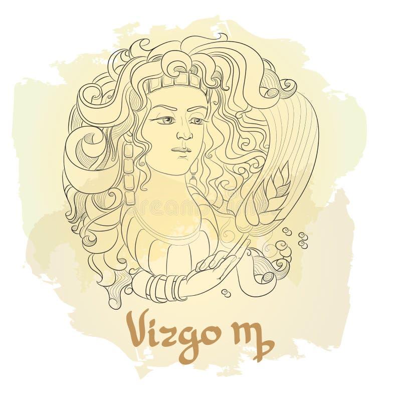 Dé la línea arte exhausta de virgo decorativo de la muestra del zodiaco libre illustration