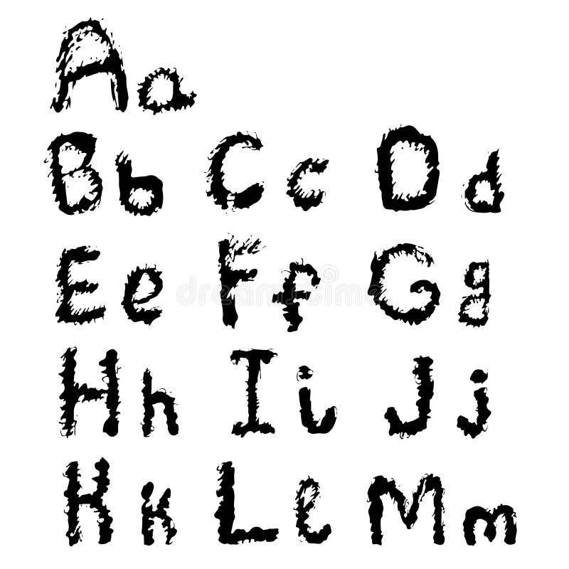 Dé la línea blanca negra decorativa de dibujo al de la colección de las letras stock de ilustración