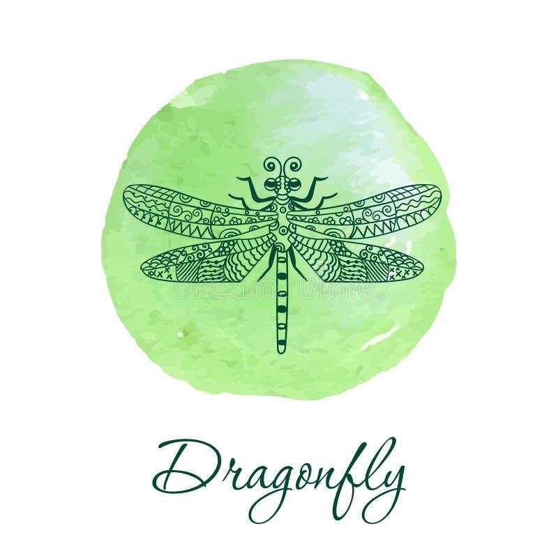 Dé la libélula exhausta en estilo adornado del zentangle en punto de la acuarela stock de ilustración