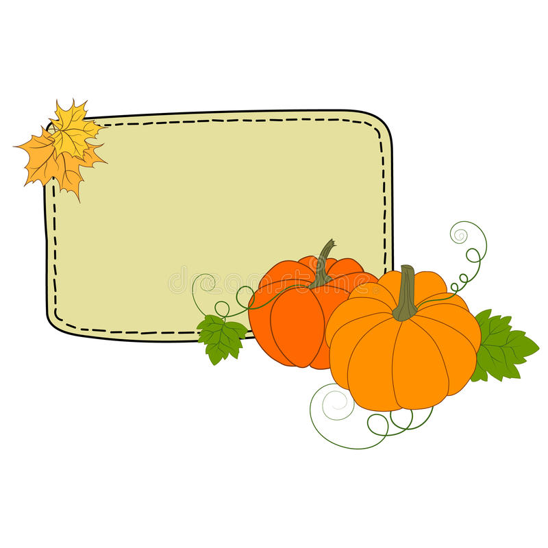 Dé la maqueta colorida exhausta del marco de las hojas de arce de las calabazas del ejemplo del garabato para el copyspace de la  stock de ilustración