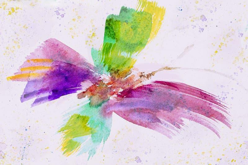 Dé la mariposa alegre colorida exhausta en el primer del Libro Blanco, la primavera y sombras del verano Acuarela abstracta, pape imagen de archivo