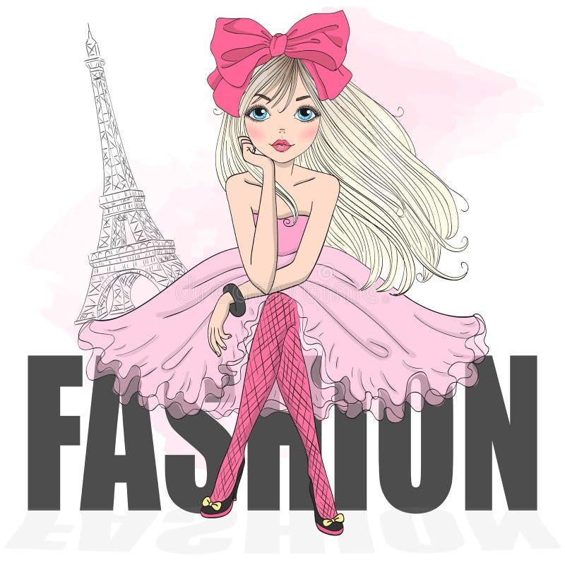 Dé la muchacha linda hermosa exhausta de la historieta en fondo con la torre Eiffel libre illustration