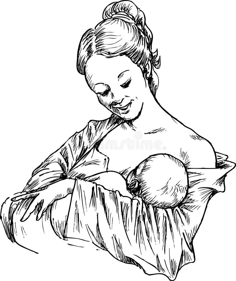 Dé la mujer exhausta que abraza y que alimenta a su bebé libre illustration
