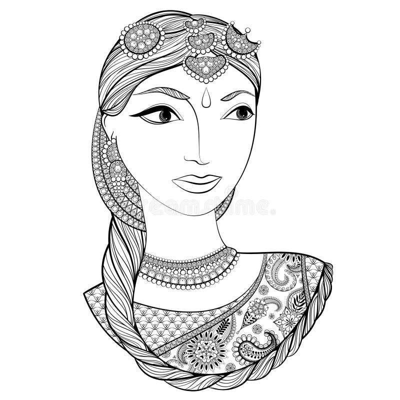 Dé la mujer india hermosa exhausta en estilo del zentangle Vector la enfermedad fotografía de archivo