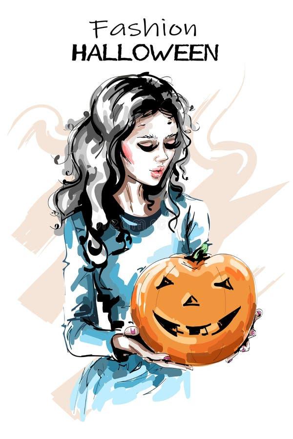 Dé la mujer joven hermosa exhausta con la calabaza de Halloween Muchacha elegante elegante que sostiene la calabaza con la cara f stock de ilustración