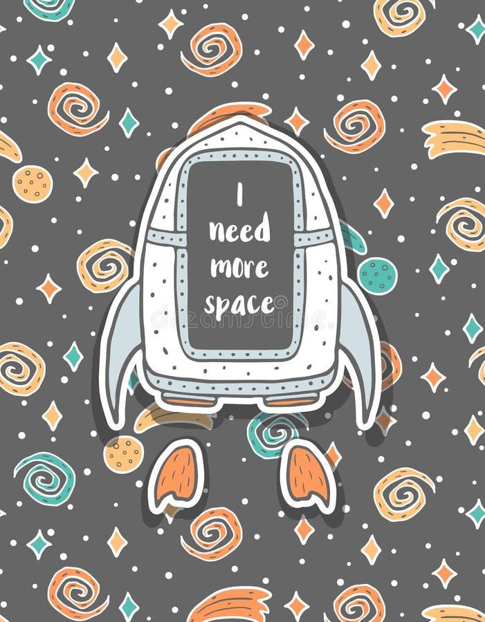 Dé la postal infantil exhausta con la nave espacial en espacio fotografía de archivo libre de regalías