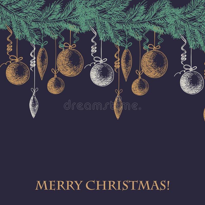 Dé la rama de árbol exhausta de la piel del bosquejo con las decoraciones del Año Nuevo y de la Navidad texto de la tarjeta feliz libre illustration
