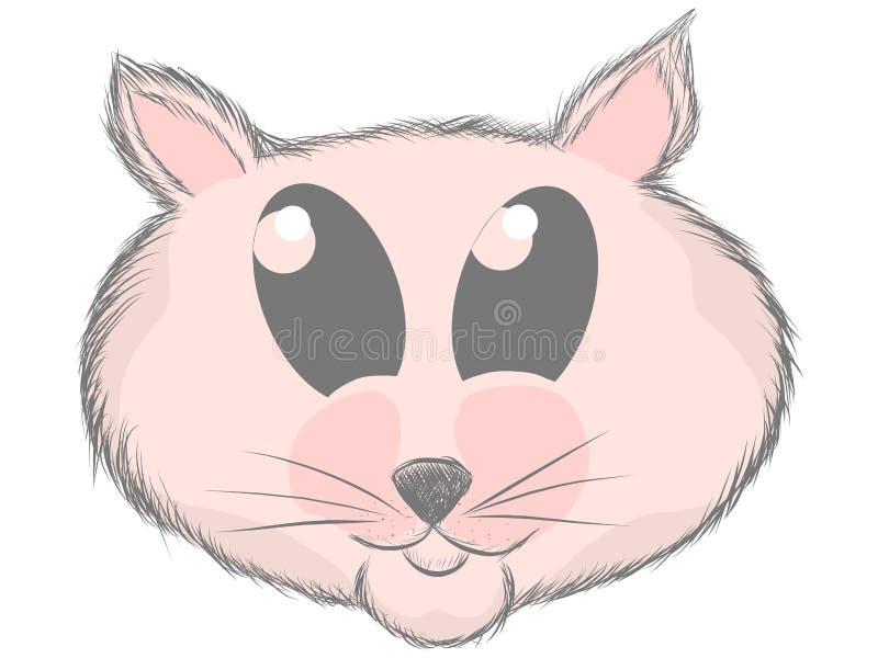Dé la rata exhausta, vector lindo del bosquejo del gato, hámster del diseño de la impresión, impresión de los niños en muchacha d ilustración del vector