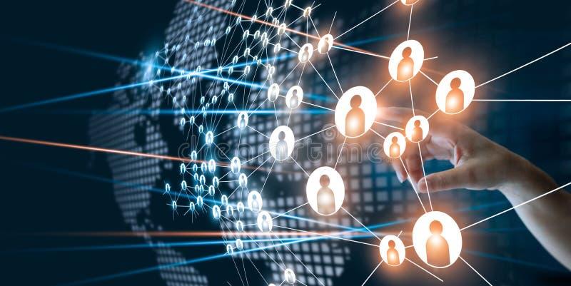 Dé la red conmovedora que conecta los iconos de los puntos del ser humano imagen de archivo