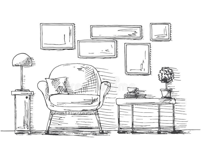 Dé la silla exhausta, la tabla con una planta y una taza En la caída de la pared el marco Ejemplo del vector de un estilo del bos ilustración del vector