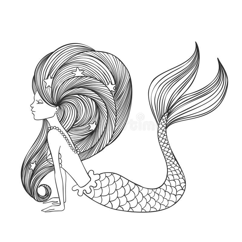 Dé la sirena linda linear exhausta de la muchacha para el libro de colorear ilustración del vector
