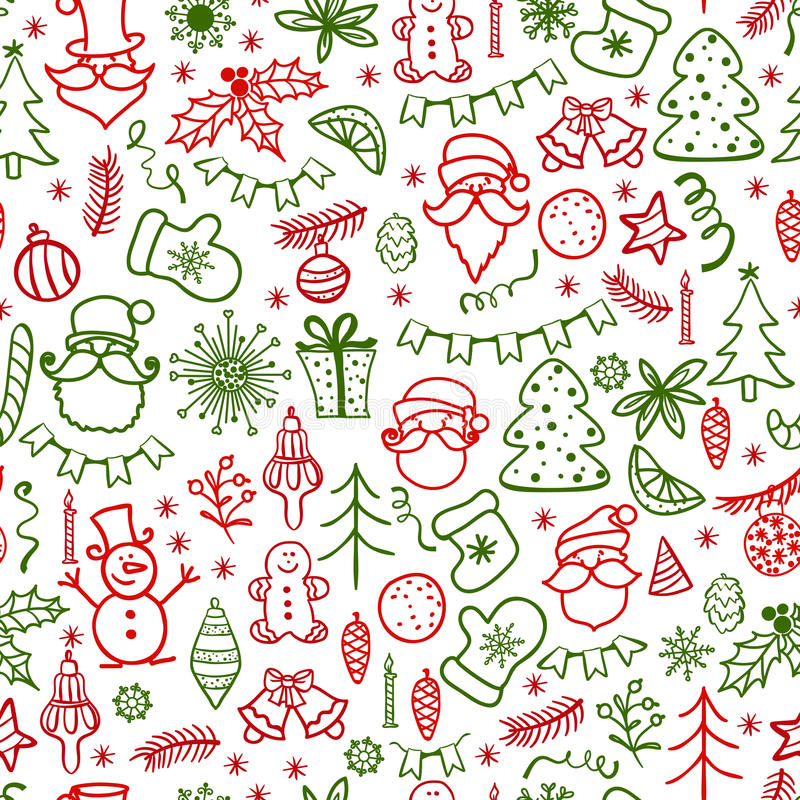 Dé la tarjeta de felicitación exhausta de la Navidad con Santa Claus y el árbol de navidad stock de ilustración