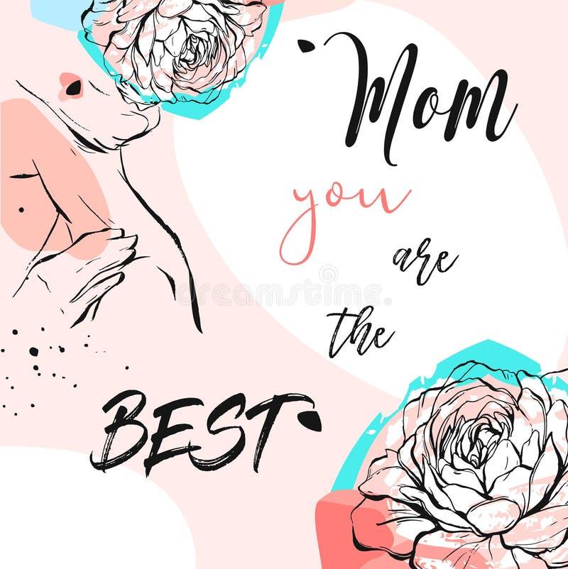 Dé la tarjeta de felicitación exhausta del extracto del vector con caligrafía feliz del día de madres y la figura de la mujer con stock de ilustración