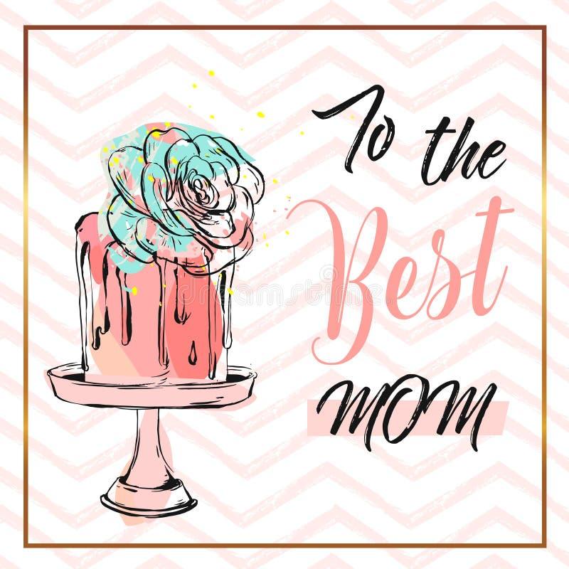 Dé la tarjeta de felicitación exhausta del extracto del vector con a la caligrafía de la mamá del mejor y apelmácese en soporte c ilustración del vector