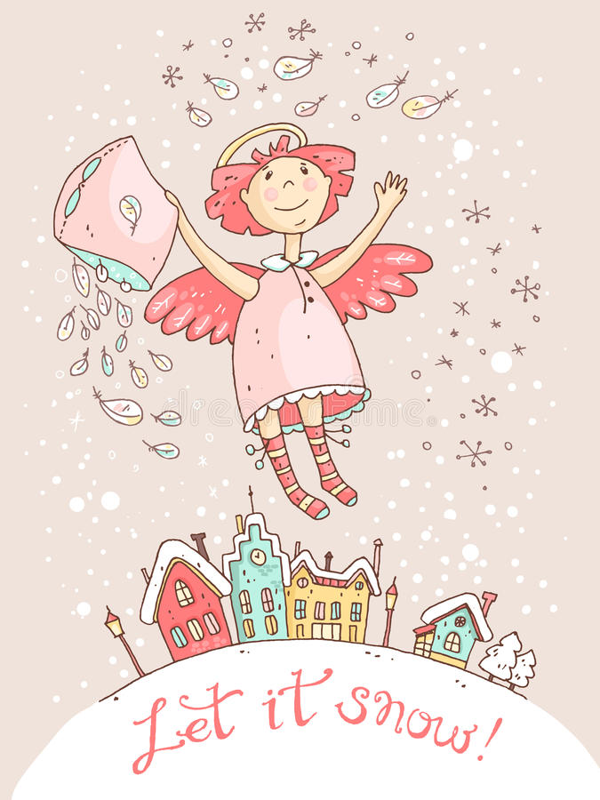 Dé la tarjeta de la Navidad exhausta del vector y del Año Nuevo con el ángel stock de ilustración