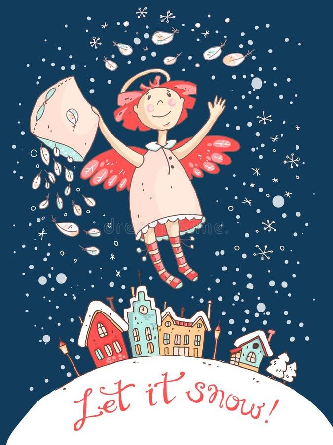 Dé la tarjeta de la Navidad exhausta del vector y del Año Nuevo con el ángel libre illustration