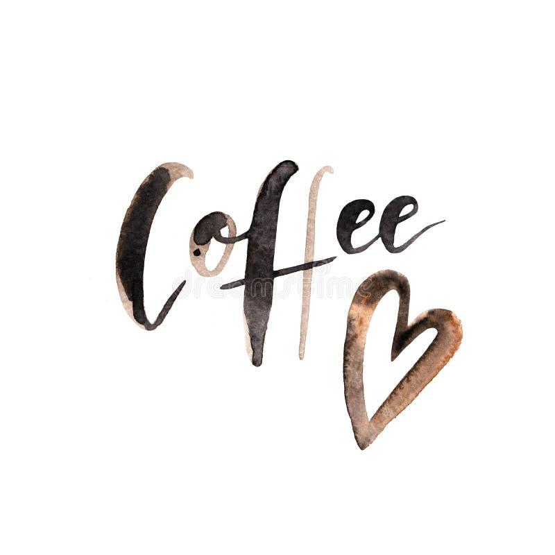 Dé la tarjeta de letras exhausta con el texto del marrón de la acuarela - ` del café del ` - en el fondo blanco con el corazón libre illustration