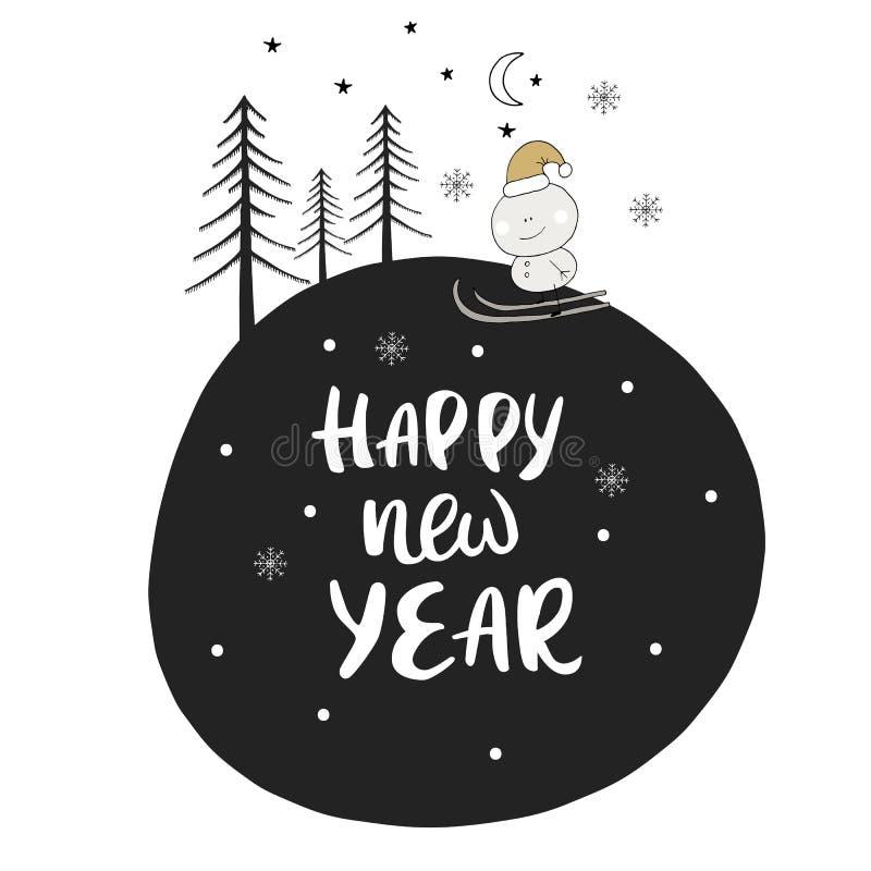 Dé la tarjeta de Navidad exhausta en estilo escandinavo con los elementos del Año Nuevo y frase lindos de las letras Vector ilustración del vector