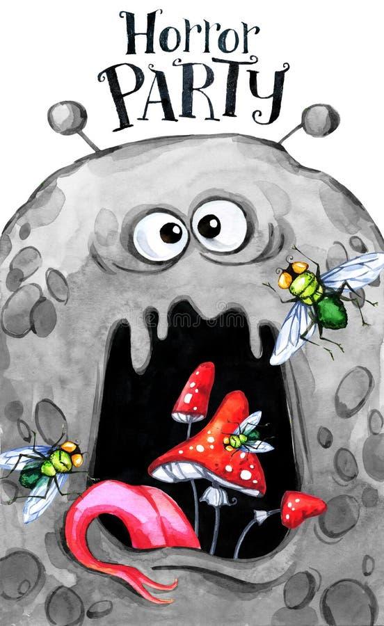 Dé la tarjeta exhausta Cabeza de la acuarela de un monstruo con el hongo en la boca Ilustración de la celebración Partido del hor stock de ilustración