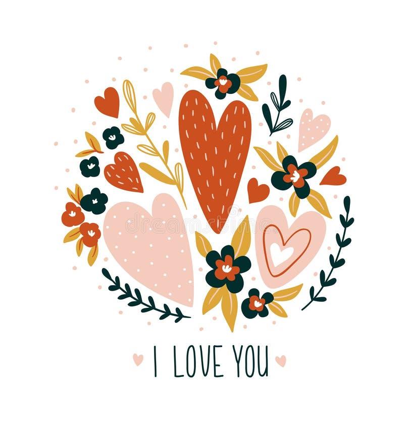 Dé la tarjeta exhausta de la tarjeta del día de San Valentín con las flores y las letras - ` del ` te amo Diseño de la impresión  ilustración del vector