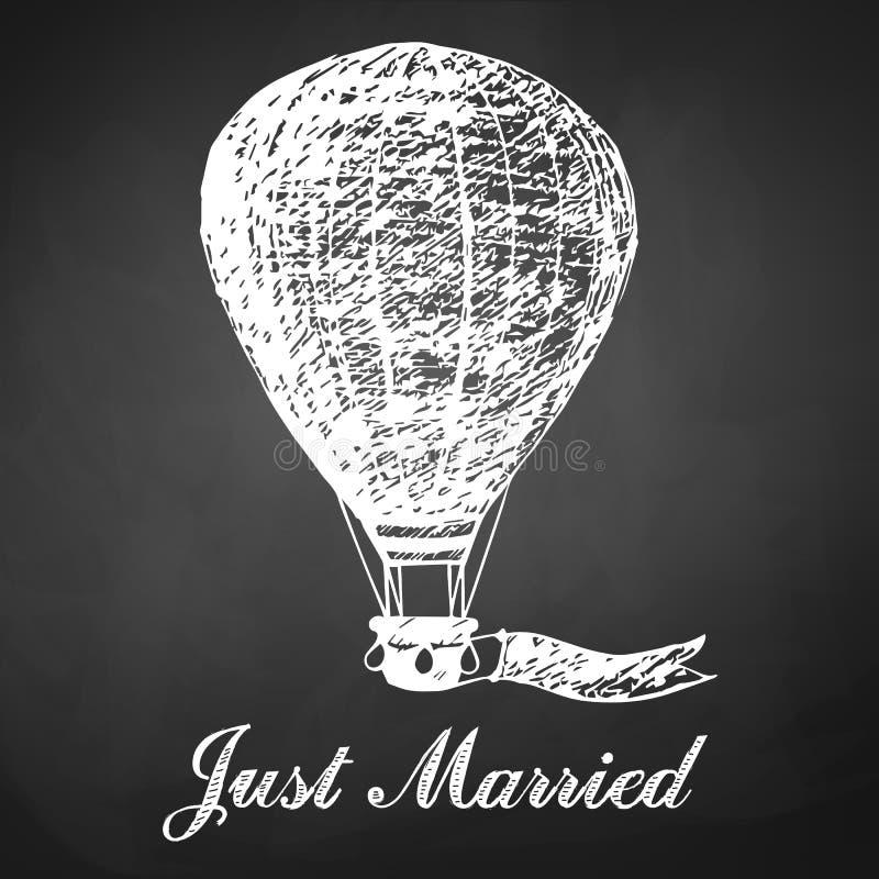 Dé la tarjeta exhausta de la tiza con el balón de aire para casarse, recienes casados ilustración del vector