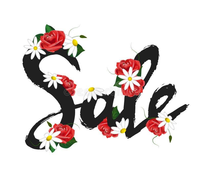 Dé la venta exhausta de la muestra con las rosas rojas y las manzanillas blancas Plantilla para crear las banderas de la publicid ilustración del vector